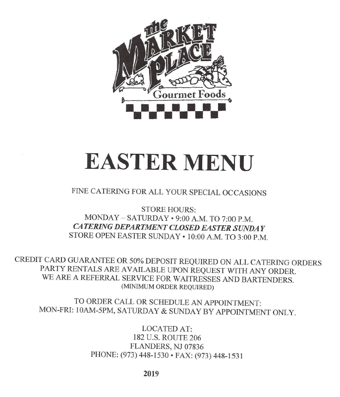 market place roxbury easter menu